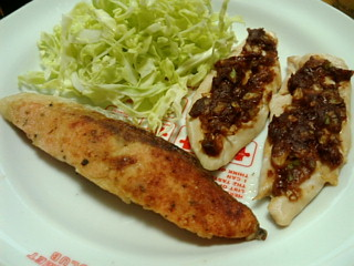 鮭のムニエル&鶏ささみのネギ味噌焼き